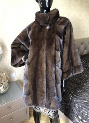 Норковая шуба gata fur, кимоно 85 см, 46-54, цвет соболь