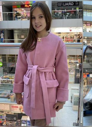 Красивое кашемировое пальто для девочки подростка 128-152