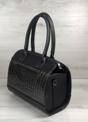 Женская классическая жесткая сумка маленький саквояж черная се...