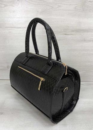 Женская классическая жесткая сумка маленький саквояж черная кр...