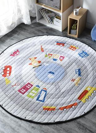 Детский коврик 2в1: игровой коврик и сумка-органайзер для игру...