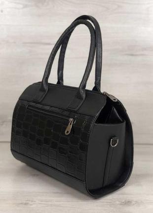 Женская классическая жесткая сумка маленький саквояж черная ла...