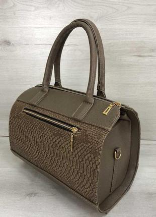 Женская классическая жесткая сумка маленький саквояж кофейная ...