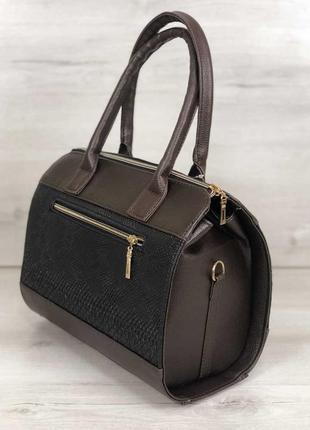 Женская классическая жесткая сумка маленький саквояж коричнева...