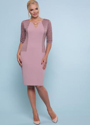 Шикарное лиловое платье миди с гипюром
