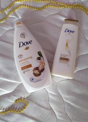 Подарочный набор dove крем-гель для душа + шампунь для волос