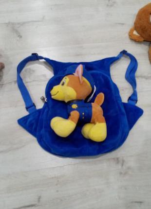 Рюкзак плюшевый с игрушкой щенячий патруль