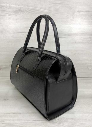 Женская классическая жесткая сумка саквояж черная крокодиловая...