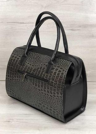 Женская классическая жесткая сумка саквояж серая крокодиловая ...