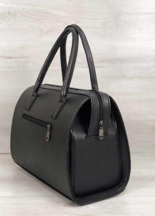 Женская классическая жесткая сумка саквояж черная матовая