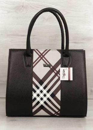 Женская классическая каркасная сумка коричневого цвета со вста...
