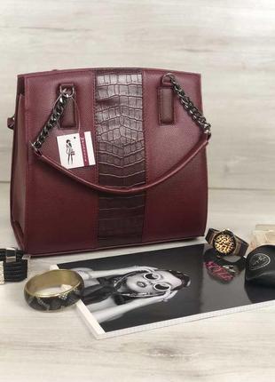 Женская классическая каркасная сумка бордовая крокодиловая