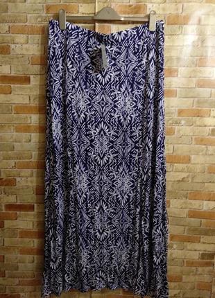 Новая трикотажная макси юбка в принт спереди 2 разреза 20/54-5...