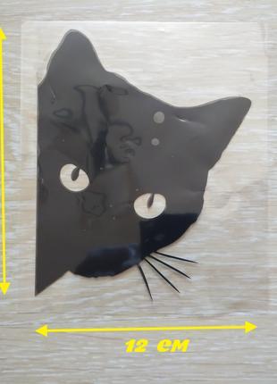 Наклейка Кот на авто Чёрная