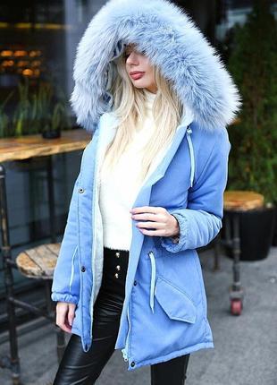 Куртка парка меховая с капюшоном