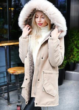 Куртка парка с мехом капюшоном