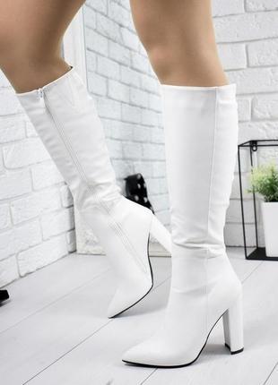 Стильные женские белые демисезонные осенние сапоги на высоком ...