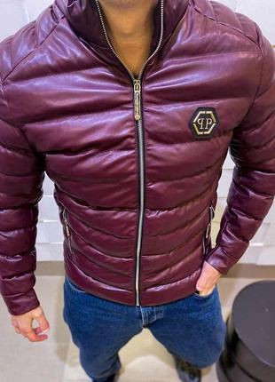 Куртка мужская philipp plein теплая бордовая / курточка чолові...