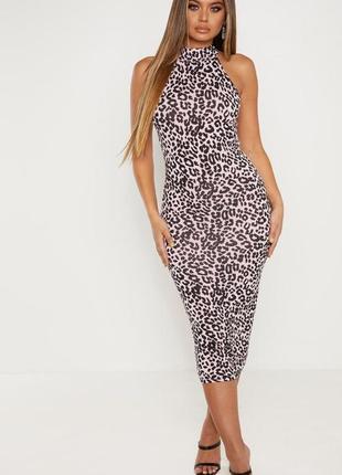 Ликвидация товара 🔥  платье леопардовое розовое миди