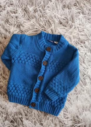 Теплая кофта lupilu blue, детская вязаная кофта на флисе