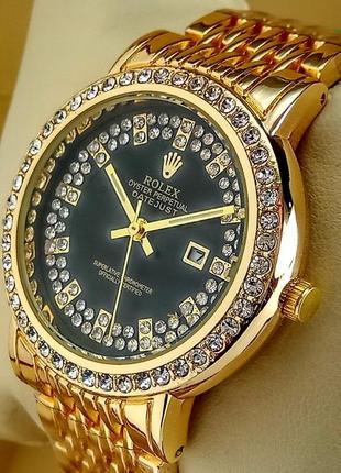 Женские кварцевые наручные часы Rolex с датой на браслете