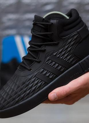 Стильные чёрные зимние кроссовки адидас adidas