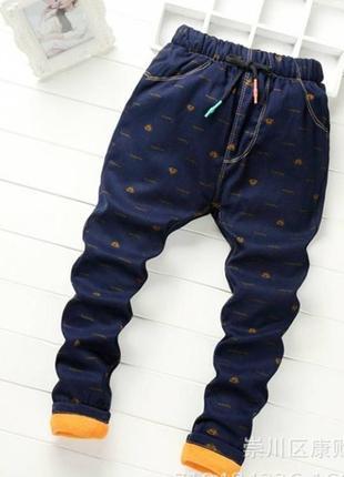 Утепленные штаны для мальчика supreme темно-синие