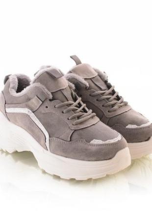 Зимние кроссовки серого цвета
