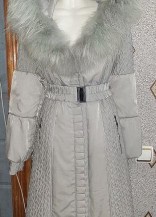 Распродажа!!! Пальто новое, серое, плащёвка, капюшон - натурал...