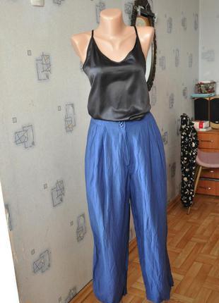 Синие широкие штаны брюки штаны-юбка кюлоты лен вискоза льняные