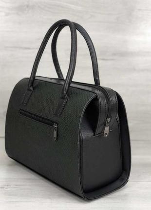 Женская классическая жесткая сумка саквояж зеленая змеиная