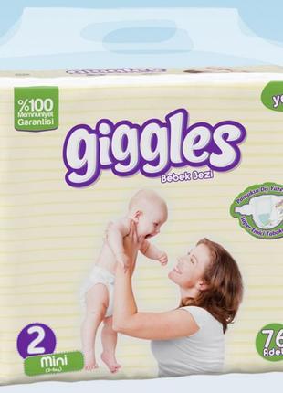 Подгузник детский Giggles, Jumbo Mini (2) 3-6 кг 76 шт