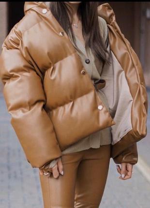 Объемная куртка теплая пуховик женский