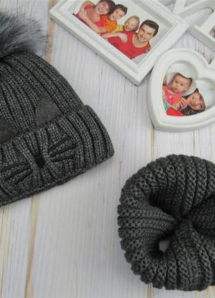 Комплект на девочку шапка+хомут