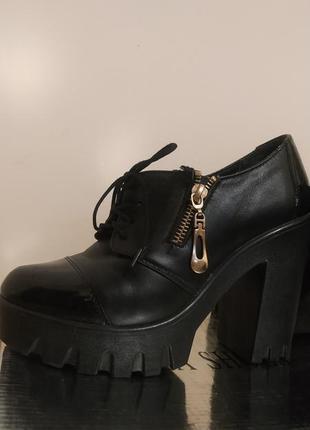 Сапоги ботинки женские на тракторной подошве осень туфли