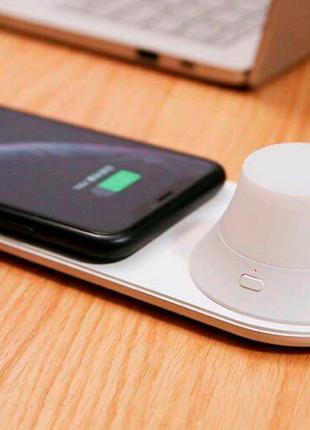 Лампа ночник + беспроводная зарядка Wireless charging pad