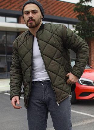 Бомбер мужской стеганый хаки / куртка чоловіча стьобана хакі...