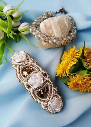 Набор заколка для волос и браслет с кристаллами