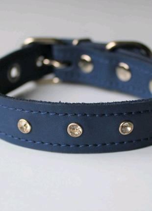 """Кожаный ошейник со стразами """"Lockdog"""" синий"""
