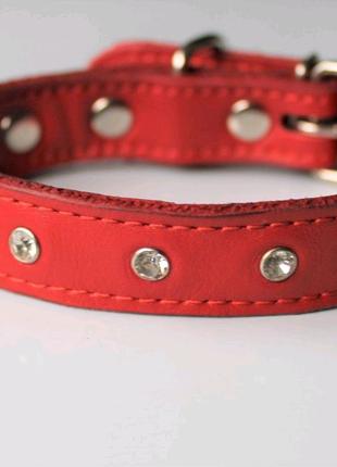 """Кожаный ошейник со стразами """"Lockdog"""" красный"""