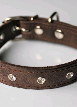 """Кожаный ошейник со стразами """"Lockdog"""" коричневый"""