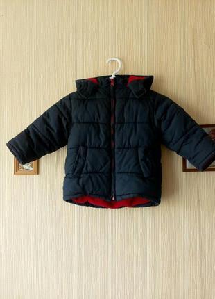 Очень теплая демисезонная осення куртка на мальчика с капюшоном