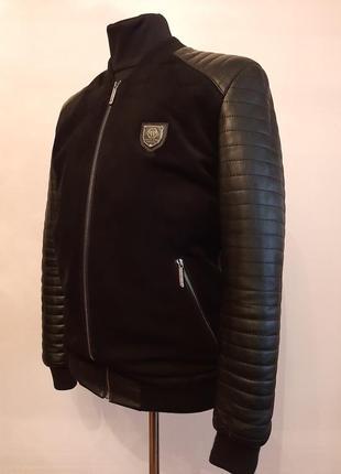 Мужская стильная кожаная куртка-бомбер philipp plein р.l