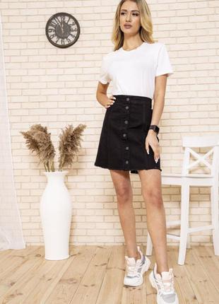 Черная стильная джинсовая юбка трапеция,на пуговицах с высокой...