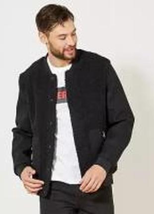 Стильная шерстяная куртка-бомбер куртка бомбер kiabi