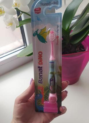 Детская зубная щетка dino мягкая розовая на 2-5 лет