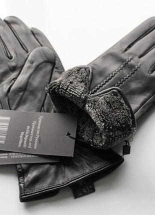 Женские кожаные перчатки подкладка махра черные