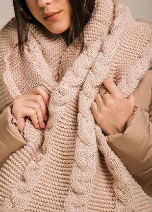 Теплый вязаный теплий в'язаний практичный шарф хомут снуд с ко...