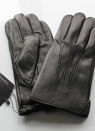 Мужские кожаные перчатки подкладка махра черные