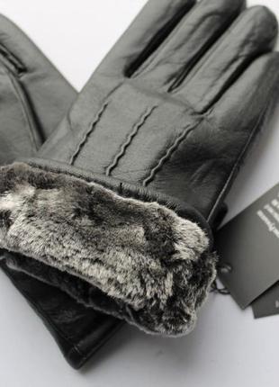 Мужские кожаные перчатки зимние, мех, черные